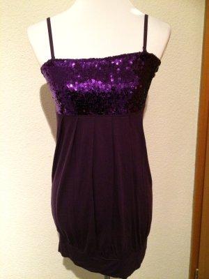 lila Paillettenkleid / Kleid mit Pailletten - Gr. 32/34 - XS