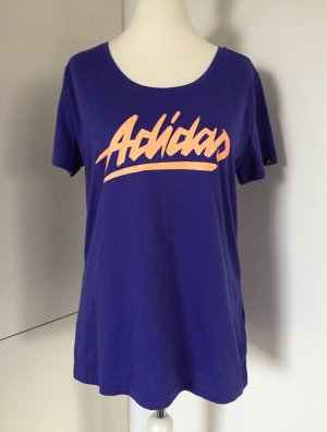 Lila Rundhals-Shirt mit apricotfarbenem Logo, Gr. XL - von Adidas