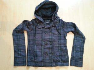 Lila-schwarz karierte Lieblingsjacke mit Knöpfen vorne und Kaputze