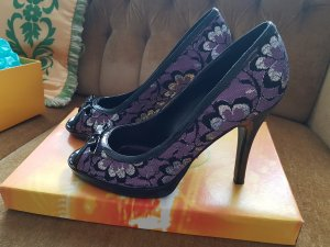 Graceland Plateauzool pumps zwart-paars