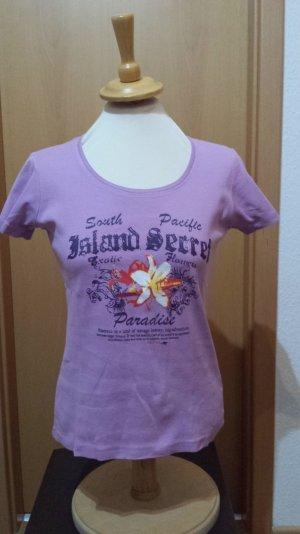 lila T-Shirt mit Aufdruck Roadsign, Gr. M