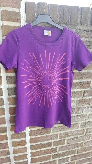 Lila T-Shirt mit Aufdruck von Carhartt in Größe S