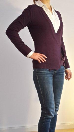 lila (violett Brombeere) Strickjacke V-Ausschnitt Gr S 36