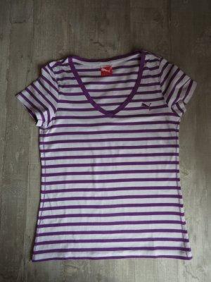 Lila-weiß gestreiftes T-Shirt mit V-Ausschnitt von Puma