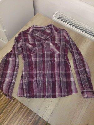 Lila-weiß-silber karrierte Bluse