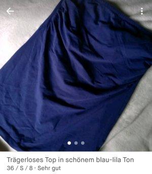 Lilablaues Top trägerlos bandeau