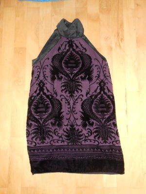 Lilafarbenes Kleid mit schwarzen Samt Ornamenten von Mango Größe M