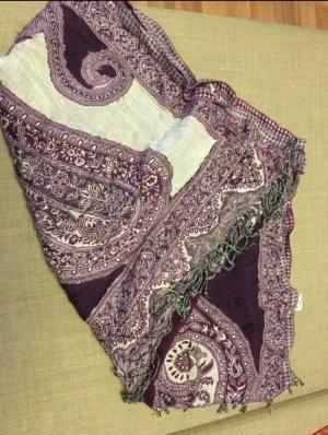 Bijou Brigitte Bufanda de flecos lila-blanco