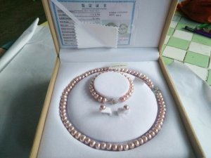 Pearl Bracelet mauve real silver