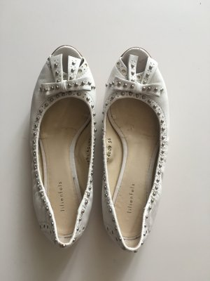 Lilienfels Peep Toe Ballerinas white-silver-colored leather
