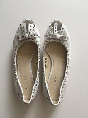 Lilienfels Peep Toe ballerina's wit-zilver Leer