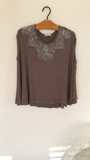 Lilienfels Top Blusentop Shirt Bluse Grau Glitzer Ornamente Oversize Loose fit S