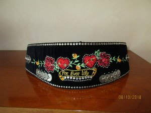 Lily Farouche Waist Belt black-red suede