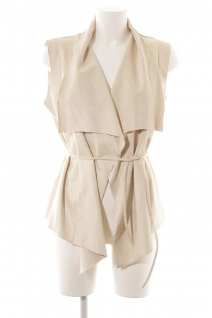 Lily White Leather Vest oatmeal-cream extravagant style