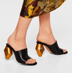 Mango High Heel Sandal black-gold-colored