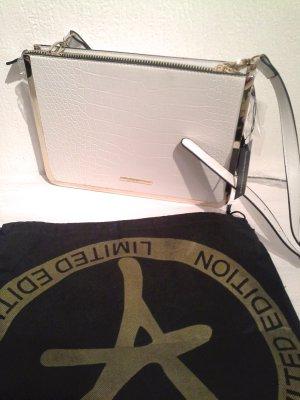 Limited Krokooptik Clutch Handtasche Weiß Rosegold