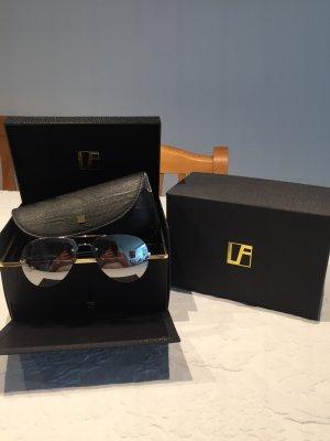 LINDA FARROW Sonnenbrille Pilotenform Gläser echt versilbert ganz neu