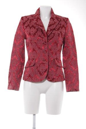 Lindex Woll-Blazer dunkelrot-ziegelrot florales Muster Empire-Look