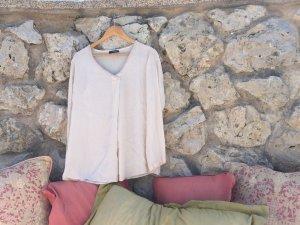 Lindsay moda Chiffonbluse Oversized mit zartem Muster am Ausschnitt
