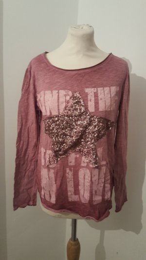 Lindsay Moda Italy Langarmshirt mit Pailettenstern Vintage Größe 38/40