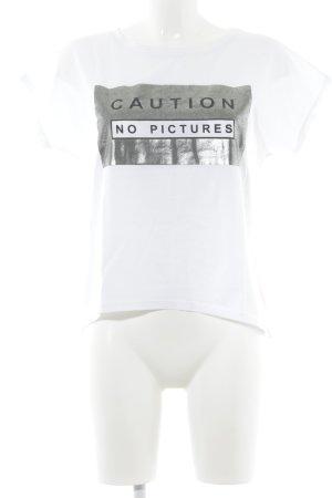 Lindsay Moda T-Shirt weiß-silberfarben Schriftzug gedruckt Casual-Look