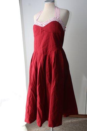 Lindy Bop neu Gr. UK 18 46 XL Neckholder rockabilly Kleid midi rot weiß Polkadots Punkte