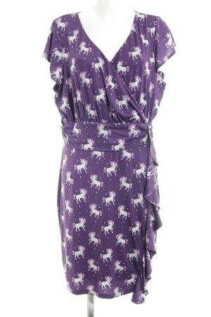 Lindy Bop Stretchkleid lila abstraktes Muster extravaganter Stil