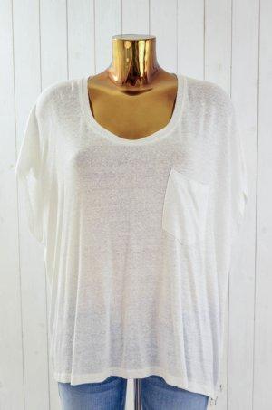 LINE OF OSLO Damen T-Shirt Shirt Weiß Leinen SNUGGLE WHITE TEE Reißverschluss L