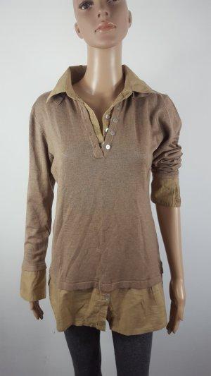 Linea Tesini Damen Langarmshirt Feinstrick 2in1 Hemdbluse Größe 40