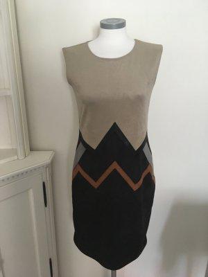 Linea Tesini Heine Kleid Waschleder schwarz braun beige 36 S