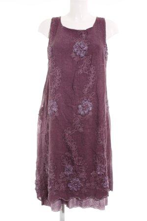 Linea Tesini Jerseykleid braunviolett-graulila Blumenmuster Casual-Look