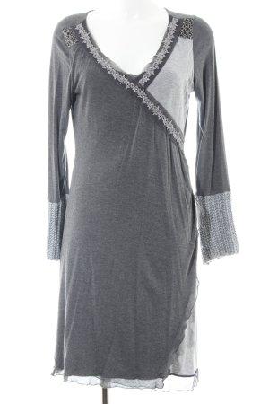 Linea Tesini Abito elasticizzato grigio chiaro puntinato stile casual