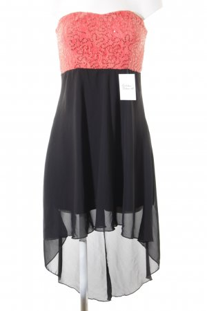 Lineas High Low Dress black-bright red elegant
