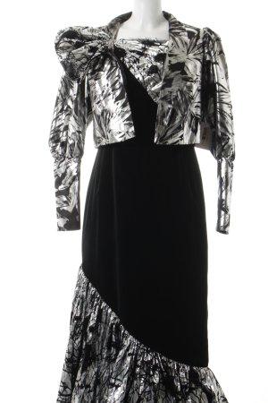 Linek Modelle exclusiv Abendkleid silberfarben-schwarz 90ies-Stil