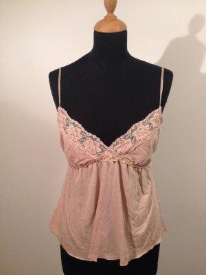 Lingerie Babydoll Jersey Shirt Träger verstellbar Spitze Perlen Boho vintage