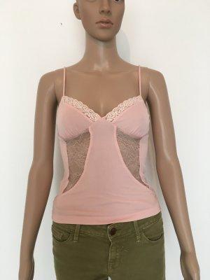 Lingerie Look Spitze feminin figurbetont rosa Rose nude Sexy romantisch Date Sommer xs Trägertop Shirt Oberteil