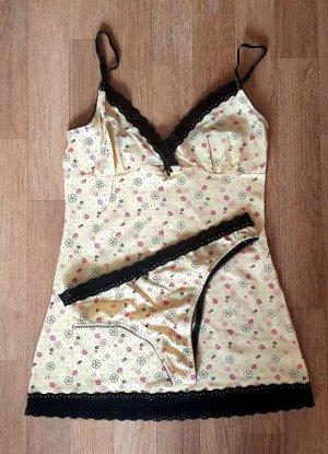 Set lingerie giallo-nero Cotone