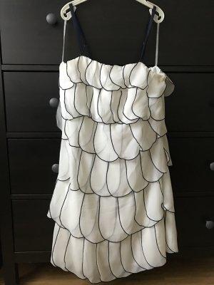 Lipsy Abendkleid Cocktailkleid 38 weiß Volant Mini Chiffon