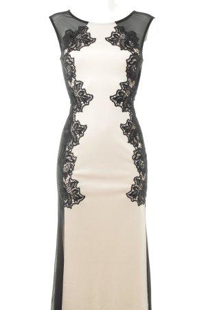 Lipsy Abendkleid schwarz-nude florales Muster Elegant