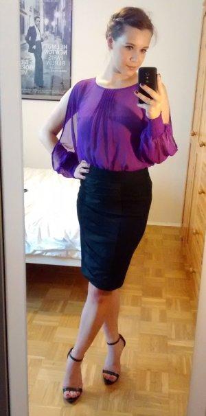 Lipsy Bluse 36 S (8) SEIDE Silk fuchsia lila Shirt oberteil cutout cold shoulder