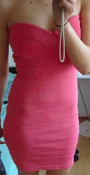 Lipsy bodycon dress pink trägerlos bandage stretch zip Reißverschluss 36 38