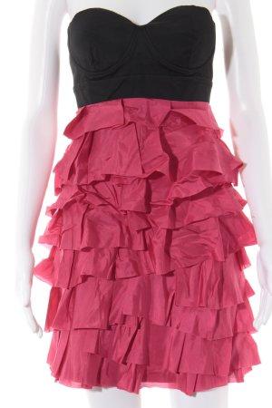 Lipsy Vestido bustier negro-rosa estilo fiesta