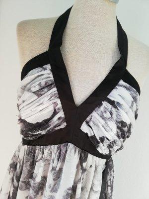 Lipsy Chiffonkleid Kleid Neckholderkleid Gr. UK 12 EUR 38 40 neu schwarz weiß grau Rosen geblümt