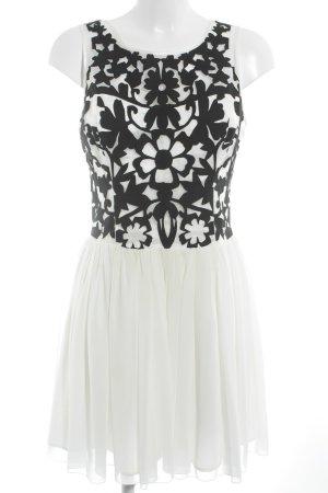 Lipsy Chiffonkleid weiß-schwarz Blumenmuster Casual-Look