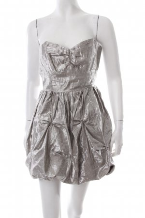Lipsy Empire Dress silver-colored wet-look