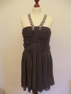 Lipsy Kleid 40 M grau taupe edel Abendkleid Cocktailkleid Abi Hochzeit