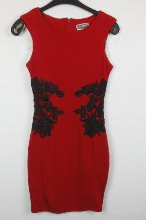 Lipsy Kleid Etuikleid Gr. XS rot mit schwarzer Spitze