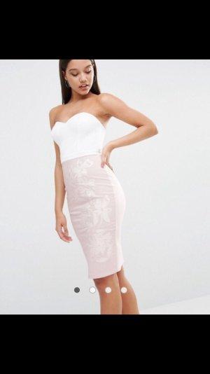 Lipsy Kleid in XXS weiß/rosé