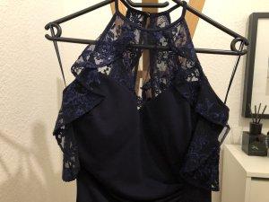 Lipsy Kleid Maxi blau navy mit Spitze Größe 36-38