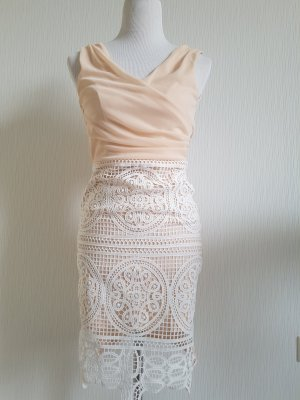 Lipsy Kleid nude/ weiß Häckel Spitze S